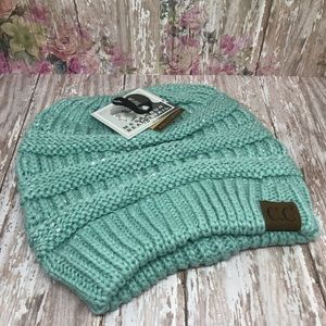 C.C Messy Bun Beanie Tail Hat with Sequin